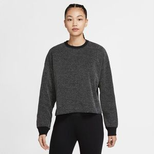 Nike Yoga Women's Cropped Crew Sweatshirt in Black